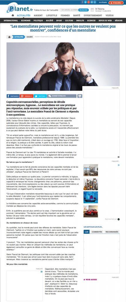 Interview mentaliste Pascal de Clermont - Planet.fr