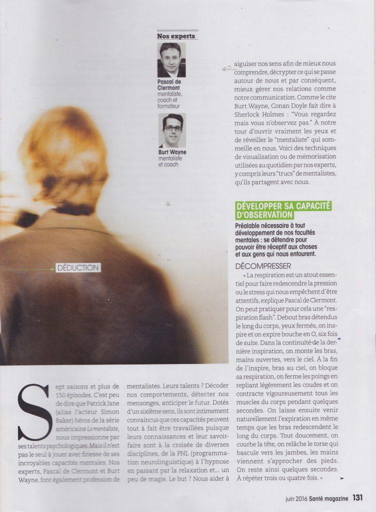 Santé Magazine - interview du mentaliste Pascal de Clermont Page 2